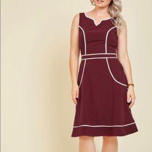 New ModCloth Burgundy A-Line Pocket Dress XL